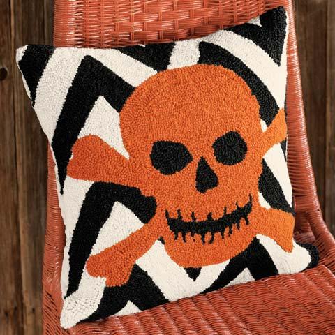 Skull & Bones Hooked Pillow