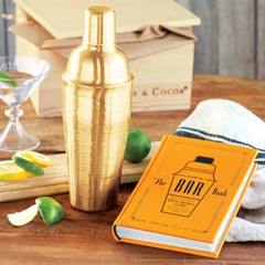 Gilded Cocktail Shaker & Leather Bar Book