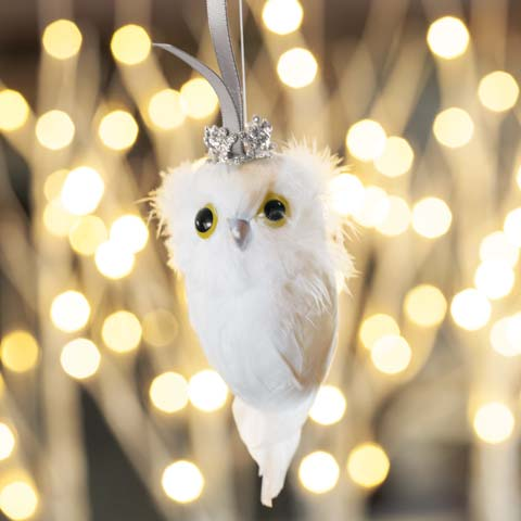Snowy Feathered Owl Ornament