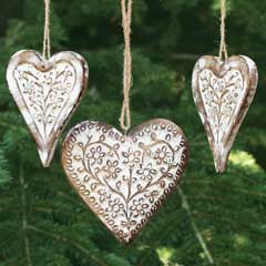 Edelweiss Carved Heart Ornaments