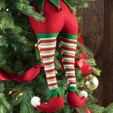 merriest elf legs all gifts olive cocoa - Elf Legs Christmas Decoration