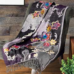 Flora Embroidered Throw