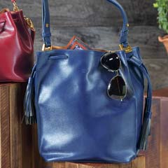 Navy Tasseled Bucket Bag