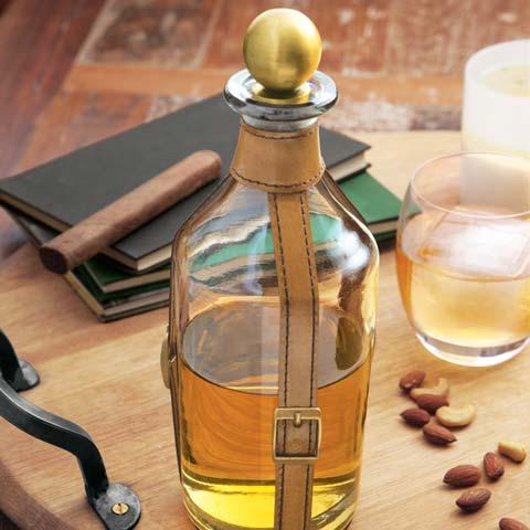 Sutton Leather & Brass Decanter