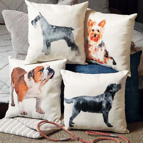 Watercolor Pup Pillows