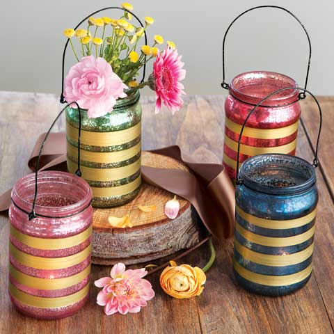 Tulipe Mercury Glass Jars