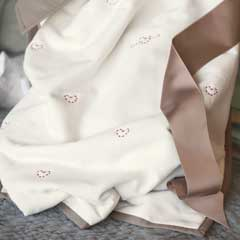 Hearts & Love Embroidered Blanket