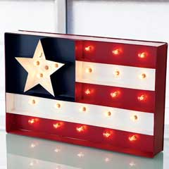 Old Fashioned Flag Lit Sign