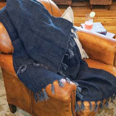 Indigo Washed Linen Throw
