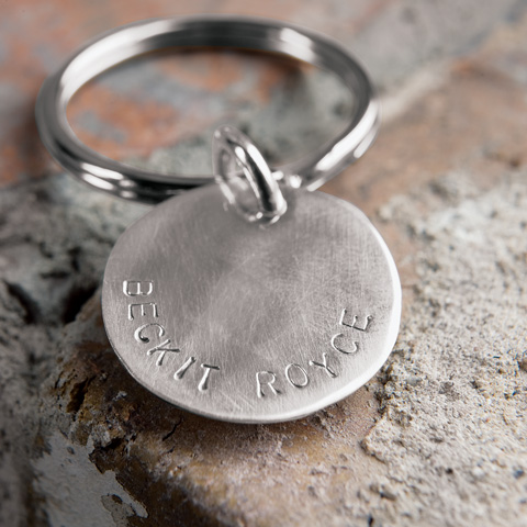 Sterling Silver Custom Stamped Key Ring
