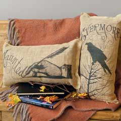 Haunted & Evermore Artisan Burlap Pillows