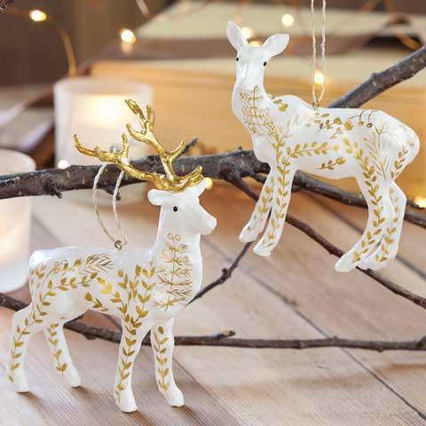 Edelweiss Reindeer Ornaments