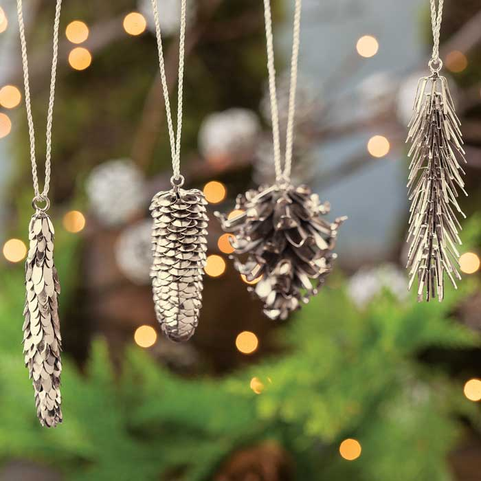 metal pinecone ornaments christmas olive cocoa - Pine Cone Ornaments