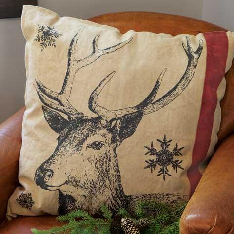 Reindeer Canvas Reversible Pillow