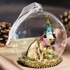 Party Frenchie Globe Ornament