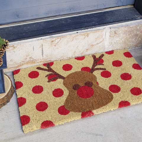 Red Nosed Reindeer Door Mat