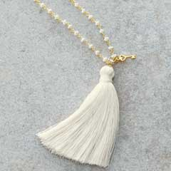 White Tassel & Key Necklace