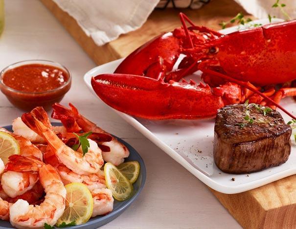 Lobster, Filet, and Shrimp
