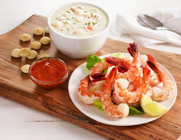 Shrimp Cocktail and Clam Chowder