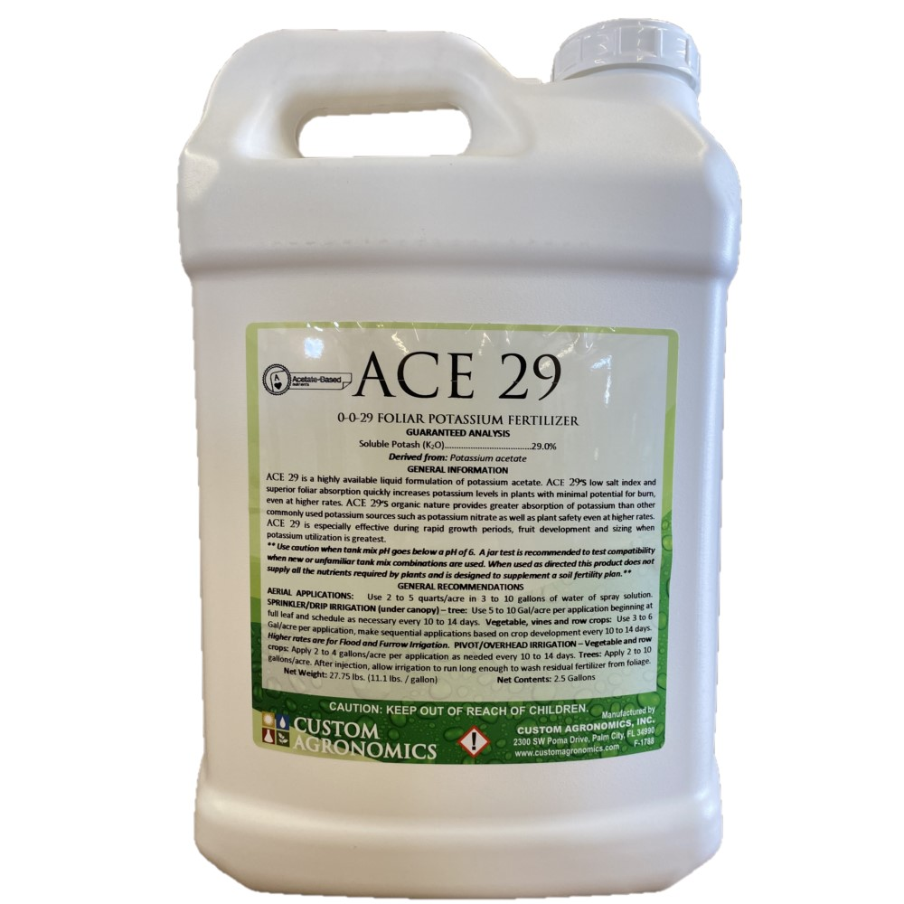 Ace 29.  2.5 gallon. 0-0-29 Foliar Potassium Fertilizer