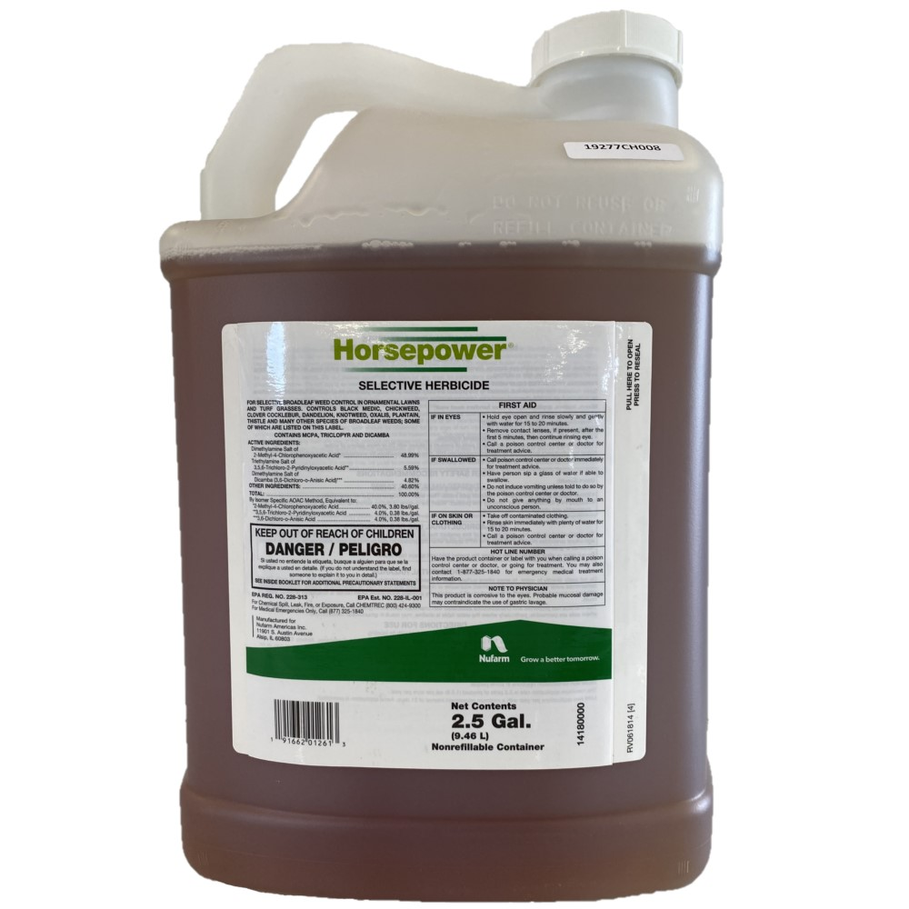 Horsepower Selective Herbicide.  2.5 Gallon. Controls More Than 150 Different Weeds. Active Ingredents: MCPA (48.99%), triclopyr (5.59%), dicamba (4.82%)