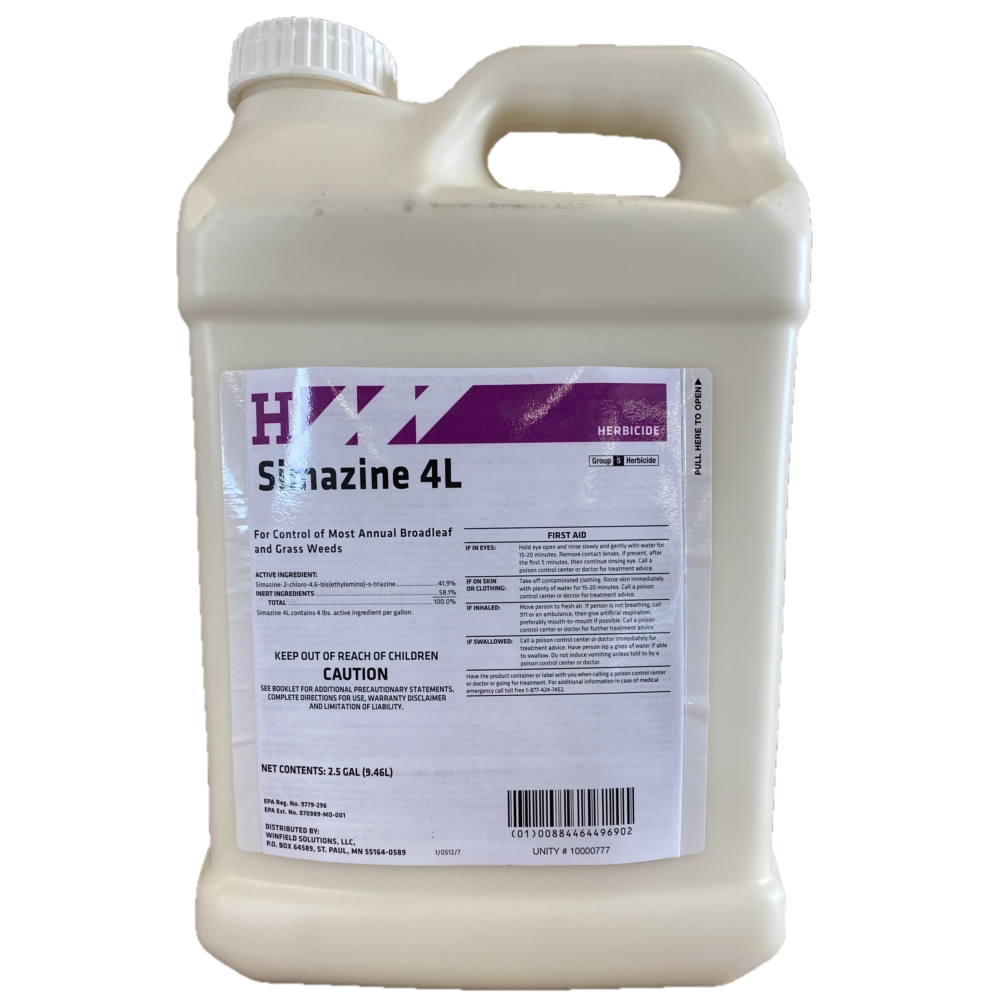 Simazine 4L 2.5 Gallon. Pre-Emergent Herbicide for Broadleaf and Grass Suppression