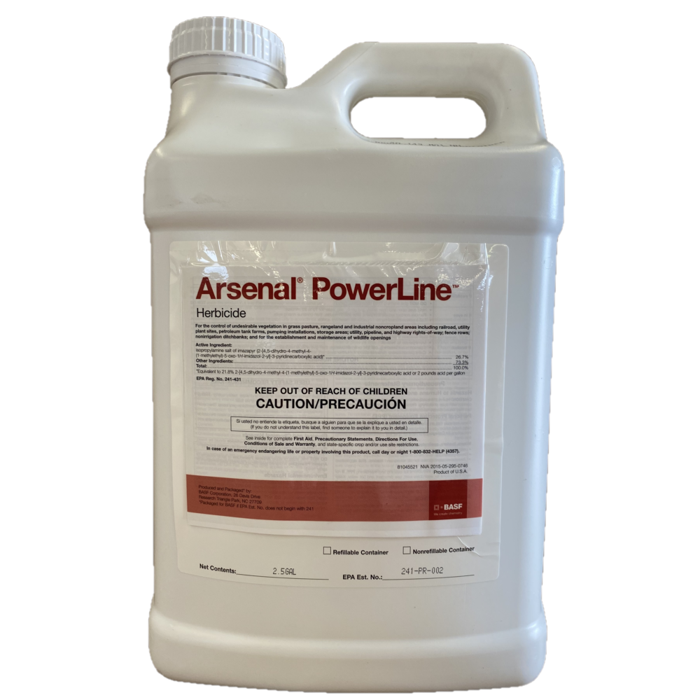 Arsenal Powerline Herbicide. 2.5 Gallon (26.7% Iso.Salt of Imazapyr)