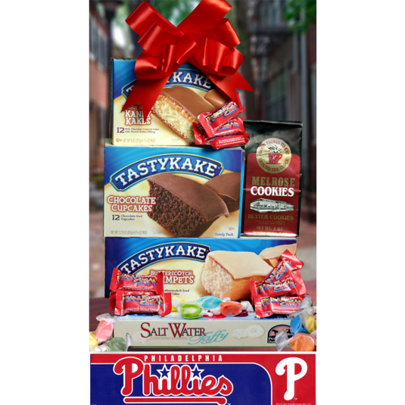 Philly Summertime Tower of Treats plus Phillies Bumper Sticker