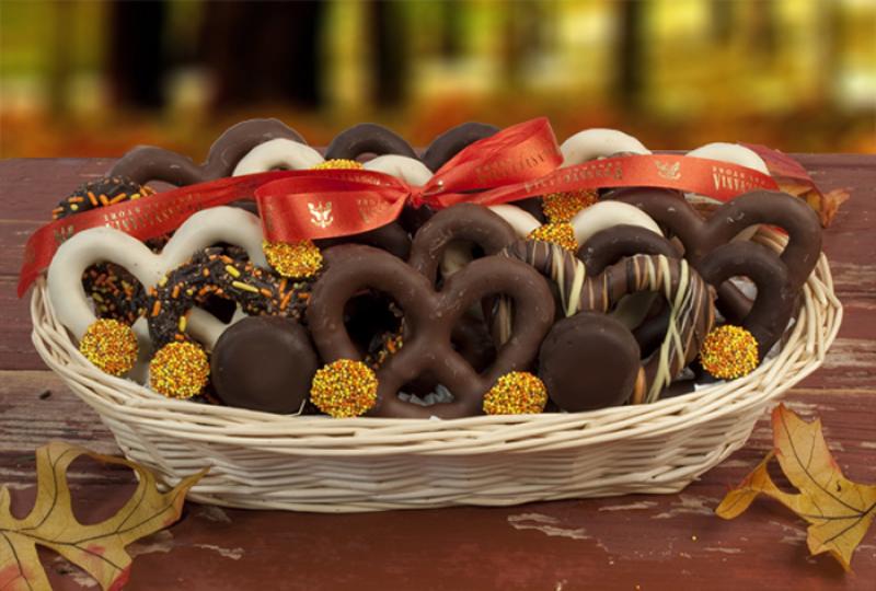 Fall Chocolate Pretzel Sampler Basket