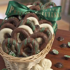St Patty's Day Chocolate Pretzel Sampler Basket