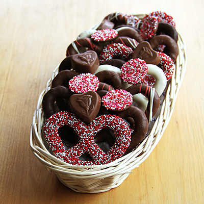 Valentine's Chocolate Pretzel Sampler Basket