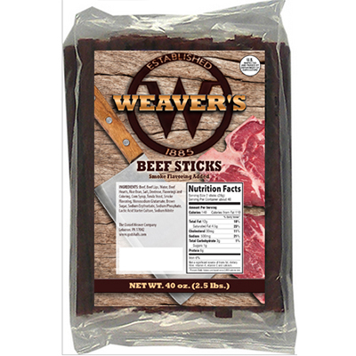 Weaver's Beef Snack Sticks - 2.5 lbs.