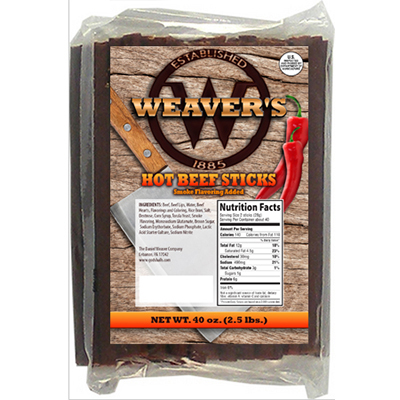 Weaver's Hot Beef Snack Sticks - 2.5 lbs