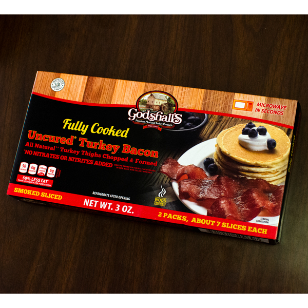Godshall's Fully Cooked Turkey Bacon, 3 oz.