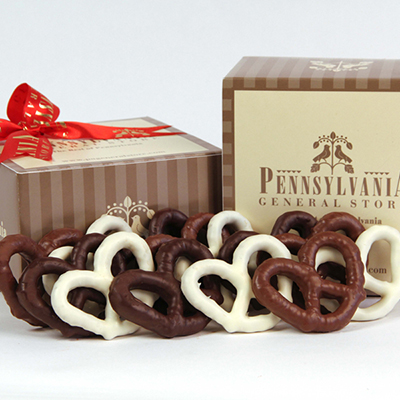 Chocolate Covered Pretzel Gift Box, Gold