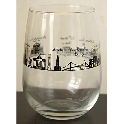 Philadelphia Stemless Wine Glass