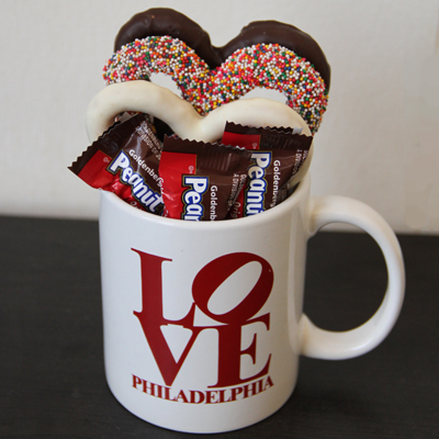 Love Mug with Chocolate Pretzels and Goldenbergs