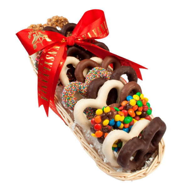 Chocolate Gift Baskets: Chocolate Pretzel Sampler Basket, Gift Tins & Boxes