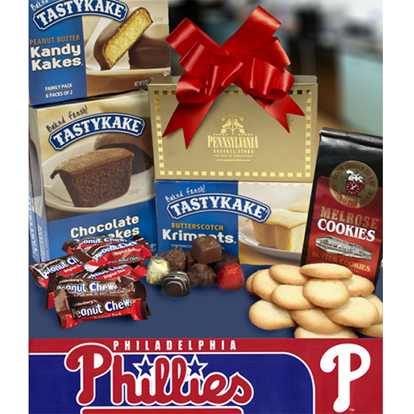 Philly Tower of Treats plus Phillies Bumper Sticker