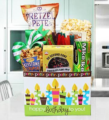 Birthday Cake Party Basket w Chocolate Cake Kit - Summer Version