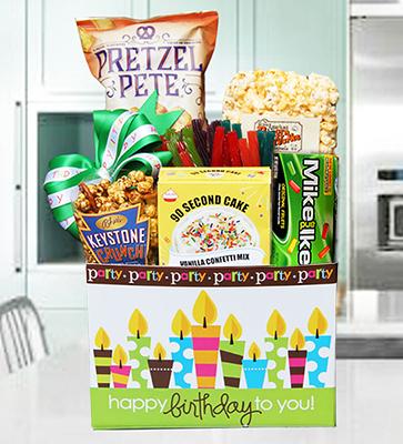 Birthday Cake Party Basket w Vanilla Cake Kit - Summer Version