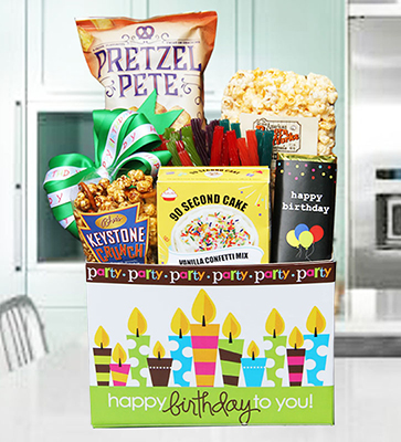 Birthday Cake Party Basket w Vanilla Cake Kit
