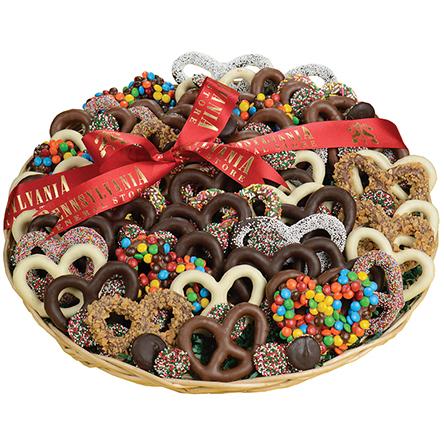 Large Holiday Chocolate Pretzel Tray