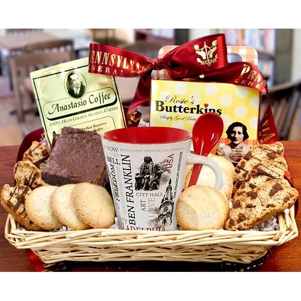 Philadelphia Coffee House Basket with 2 Mugs- Heat Safe