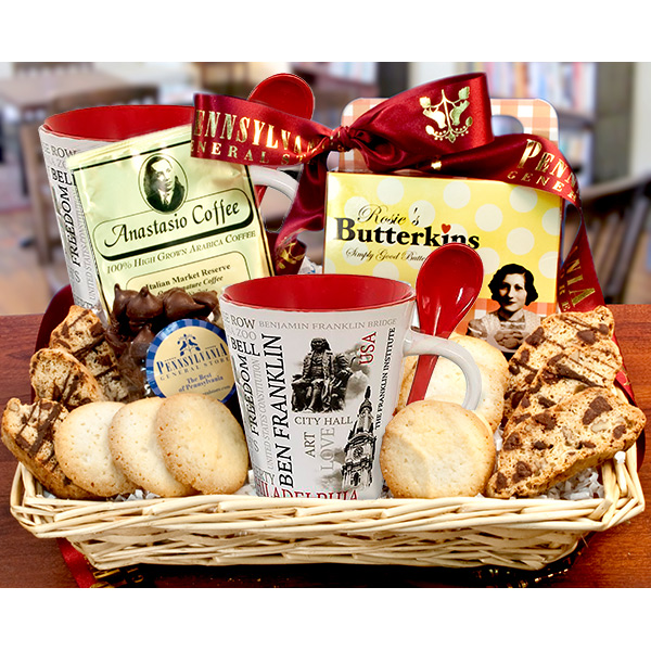 Philadelphia Coffee House Basket with 2 Mugs --