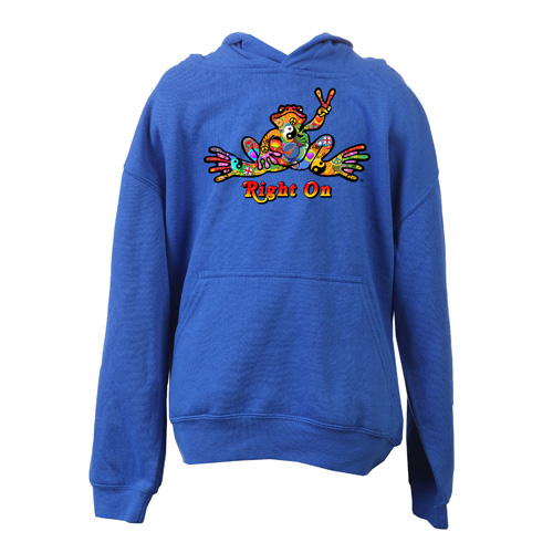 Peace Frogs Button Printed Youth Hooded Pullover Sweatshirt