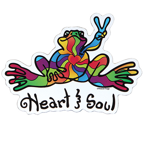 Peace Frogs Heart and Soul Car Magnet