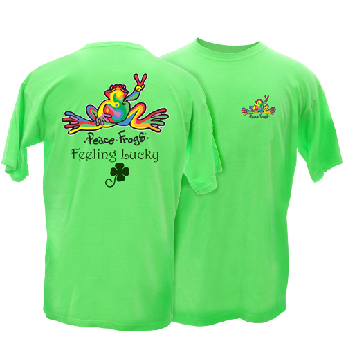 Peace Frogs Adult Feeling Lucky Retro Frog Short Sleeve T-Shirt