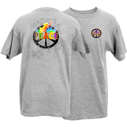 Peace Frogs Adult Rainbow Peace Sign Short Sleeve T-Shirt