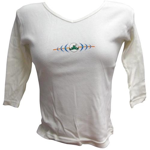Peace Frogs Junior V-Neck Cream Echo Long Sleeve T-Shirt